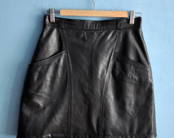 Vintage leather mini skirt, black leather skirt, 80s short leather skirt, high waist mini skirt, small