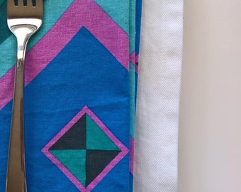 Summer Linen Napkins, Teal Dinner Napkins, Modern Cloth Napkins, Geometric Cloth Napkins, Reusable Fabric Napkins, Modern Everyday Napkins