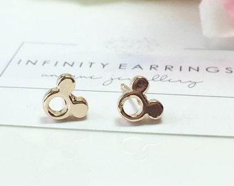 Mickey Mouse Earrings, Rose Gold Mickey Earrings,Gold Minnie Studs, Mickey Jewellery,Disney Earrings,Children Jewelry, Kids Cartoon Earrings
