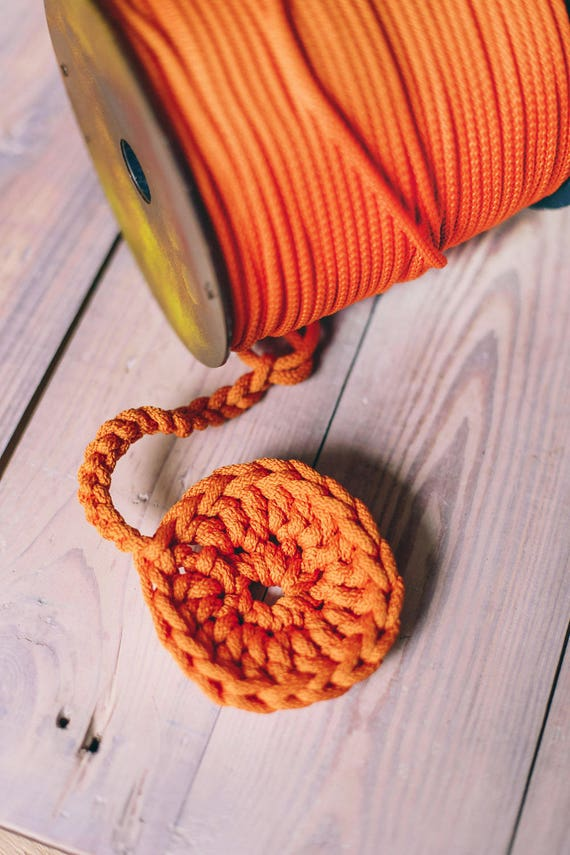 Orange yarn- polyester rope- crochet yarn- crochet rope- Craft projects- orange rope- knitting supplies- craft supplies- polyester cord