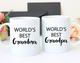 World's Best Grandparents Mug Set | Grandma Grandpa mug set | Grandma Gift | Grandparents Gift |  Grandpa Gift | Baby Announcement  |