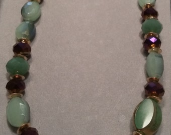 Green Glass Mix Beaded Necklace