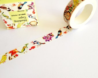 Song Bird Washi Tape 10m, journaling planner supplies, pretty birds masking tape, scrapbook card making, floral washi tape, craft supply