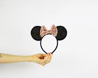 Minnie Mouse Ears Headband with Rose Gold Glitter Bow | Minnie Ears | Birthday Headband | Disney Girl Gift | Minnie Ears Black + Rose Gold