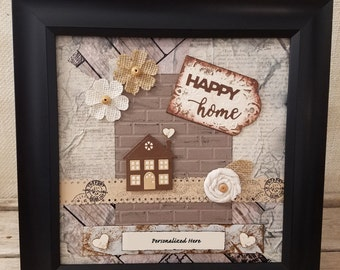Realtor Closing Gift, Framed Housewarming Gift, New Home, Happy Home, Keepsake Gift, First Home, Personalized Gift, Neighborhood Welcome