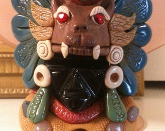 "Aztec / Mayan Stone Carving Black Obsidian Folk Art Figurine 6"" x 3"""