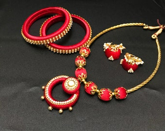 Red Indian Silk Thread Jewelry - Indian Bridal Set - Indian Jewelry Set - Bollywood Jewelry - Indian Bangles- Jhumki - South Indian Jewelry