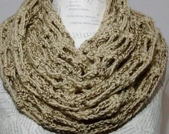 Crochet Infinity scarf/ bone infinity scarf/tan infinity scarf/crocheted/sparkly/metallic infinity scarf/handmade/womens/gift for her
