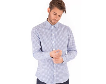 Mens 100% Cotton Long Sleeve Slim Fit Shirt White Blue Circles Print