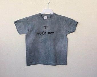Handmade T-Shirt for kids - I woa's net - soft cotton, in elegant grey and black