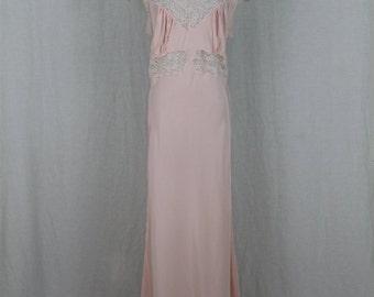 Vintage 1930's Bias cut Nightgown Pink Silk White Lace Trim Betty Lou Lingerie M