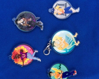 Percy Jackson/Heroes of Olympus clear acrylic charms and keychains