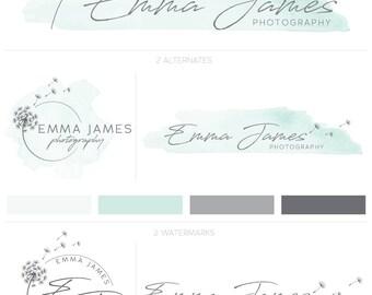 Premade Logo, Custom Branding, Dandelion Logo, Watercolor Logo, Photography Brand, Photography Logo, Logo Design, Mint Logo, Graphic Design