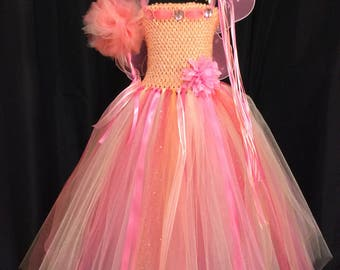 Peach & coral fairy tutu dress w/crown, wand, wings; birthday outfit; fairy costume for girls; 18-24 mo, 3T/4T, 5/6, 7/8, 9/10, 11/12