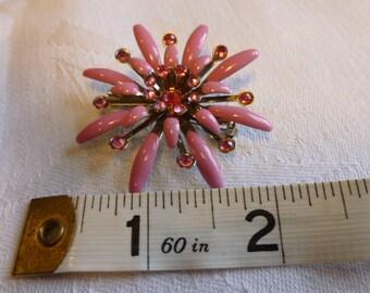 Pink enamel flower brooch with rhinestones