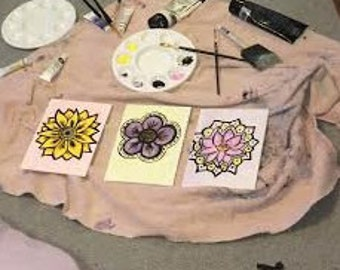 Bundle Of Three Flower Paintings