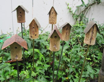 Cork Birdhouse Garden Stakes with Metal Roof