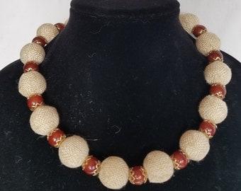 Carnelian and Burlap Necklace