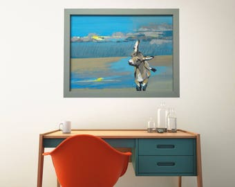 Donkey Print, Donkey Painting, Animal Printable Painting For Nursery, Farm Animal Poster, Kids Room Wall Decor Ideas, Baby Boy Nursery Idea
