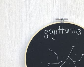 Astrology hand embroidery, Sagittarius embroidered hoop art, glow in the dark embroidery design, astrology embroidery hoop, astrology gift