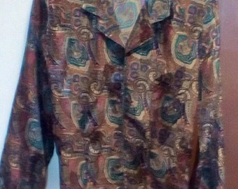 Priced Reduced Paisley Printed Ladies Blouse Size 8