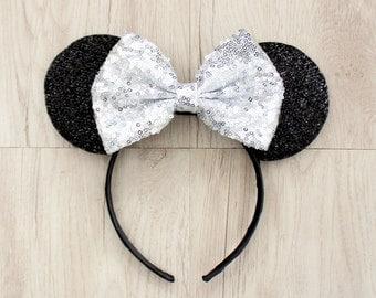 Silver Disneyland Ears, Minnie Mouse Ears, Mickey Mouse Ears, Minnie Ears, Mickey Ears, Disney Ears, Silver Sequin Bow, Disneyland Ears