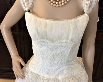 Beautiful, Ivory, Early 1960's Vintage Wedding Gown, By Mike Benet, Vintage Size 10. Eligible for Layaway!