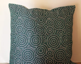 French print, Green-white & Black circles