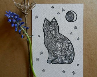 hand drawn cat illustration - original postcard art - a6 - sitting cat