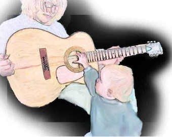 Guitar lesson, Digital download of original painting