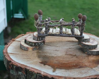 Hand Made Enchanted Fairy Garden Bridge Natural Wood materials