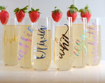 Bridesmaid Gift Ideas-Personalized Stemless Glasses-Bridesmaid Champagne Glasses-Personalized Champagne Flute-Monogram Glasses