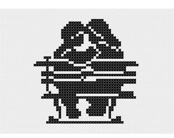 PDF cross stitch Couple embroidery Pattern// Black-and-white Boy and Girl PDF cross stitch Pattern// Love embroidery Pattern