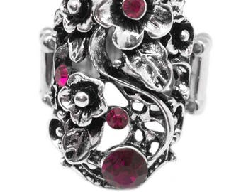 NEW Pink Burgundy Sliver Statement Ring
