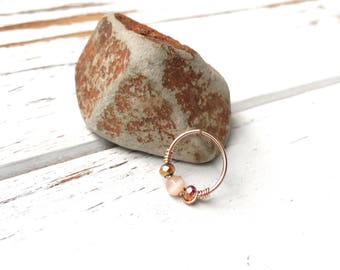 Rose gold cartilage hoop earring, Gold hoops, Small helix ring, 20g 10mm beaded hoop, 14k rose gold filled, Piercing jewelry for women, Gift