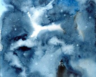 galaxy painting, blue wall art, watercolor painting, SvetnikArt