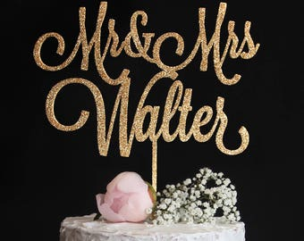 Custom Wedding Cake Topper with your Last Name | Mr and Mrs Cake Topper | Calligraphy Wedding Cake Topper | Gold Silver Glitter