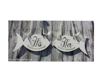Mr and Mrs WEDDING CHAIR SIGNS | Mr and Mrs Signs | Her Lucky Fisherman | His Lucky Catch | Wedding Signs | Beach Wedding Decor | Fish|Ivory