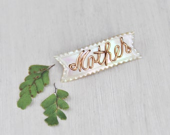 1 Mother of Pearl Ribbon Brooch - luminous shell with gold filled wire script - Mother's Day pin gift
