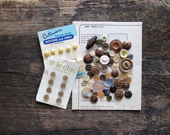 Vintage Buttons - Brown and Beige Mix