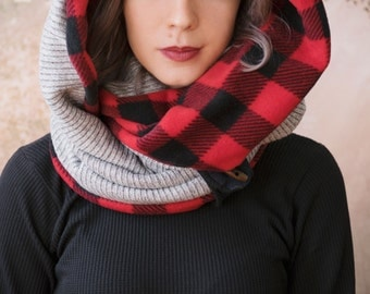 BUFFALO PLAID and GREY infinity scarf - reversible cowl, multiple styling options. Red plaid fleece and sweater knit, thick chunky scarf.