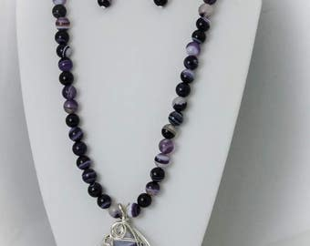 Purple Banded Agate Necklace, Earrings, and Pendant Set