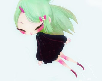 BeTrix - 5 x 7 Print alien cute girl art print horn unicorn love kawaii anime chibi