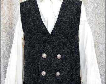 Elegant Black and Grey Wool Brocade Vest by Kambriel - Antique British Silver Crown Buttons - Brand New and Ready to Ship!