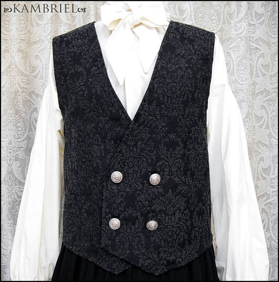 Elegant Black and Grey Wool Brocade Vest by Kambriel - Antique British Silver Crown Buttons - Brand New and Ready to Ship! by kambriel
