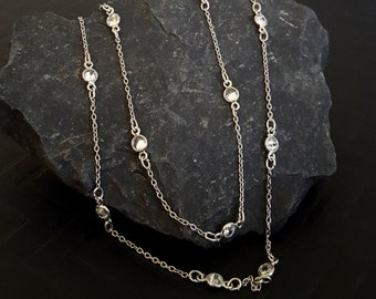 Sterling Silver Crystal Necklace, Cubic Zirconia Station Bezel Set Sparkly Silver Layer Necklace, Clear Stone Silver, Silver Choker