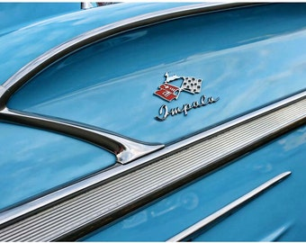 Blue 1958 Chevy Impala Photo Art - 9x12 Classic Car Photography - 1950s Vintage Blue Car Photographed by Liberty Images - Old Car Detail Art