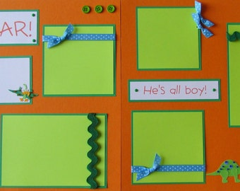 Premade Scrapbook Pages 12x12 Layout - DiNoSaURs - ALL BOY -- ROAR! baby, kid, love dinos, birthday, play time, playing, toddler album