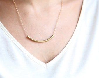 Minimalist Antique Gold Curve Tube Necklace - Gold Plated or Gold Filled Chain
