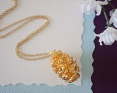 Gold Pinecone Necklace, Gold, Real PineCones, Gold Pine Cones, Redwood, Long Layered Gold Necklace, PC68